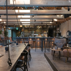 Industrial market interior for restaurant De stallen in Purmerend