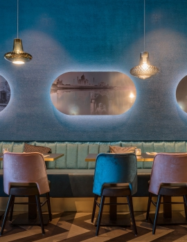 Transform a space of only 49m2 into a modern restaurant with Indian elements.